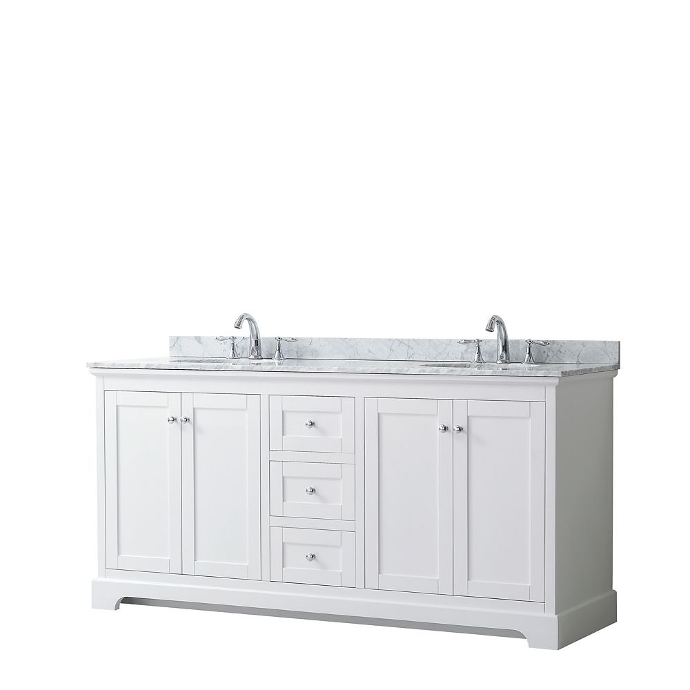 Wyndham Collection Avery 72 Inch Double Vanity in White, White Carrara Marble Top, Oval Sinks, No Mirror