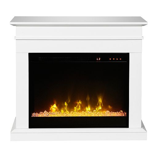 Jasmine Electric Fireplace Mantel by C3, White