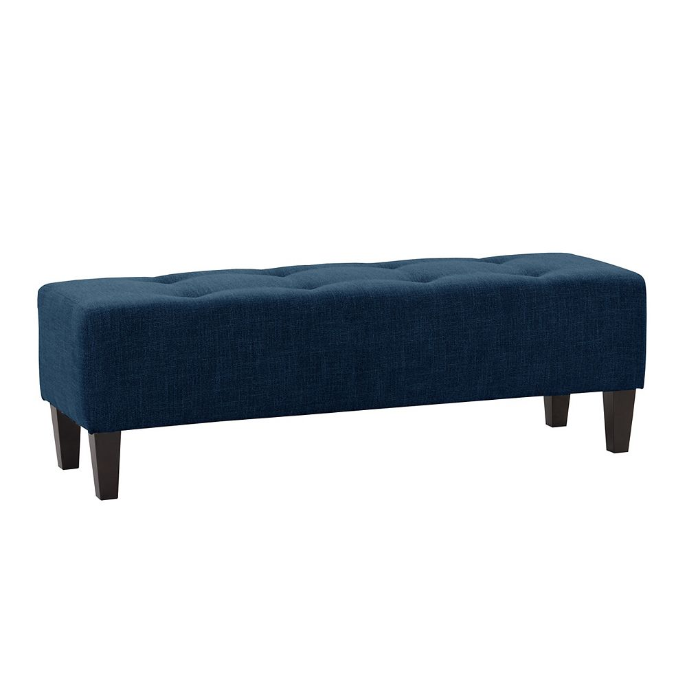 Corliving Navy Blue Fabric Button-Tufted Accent Bench