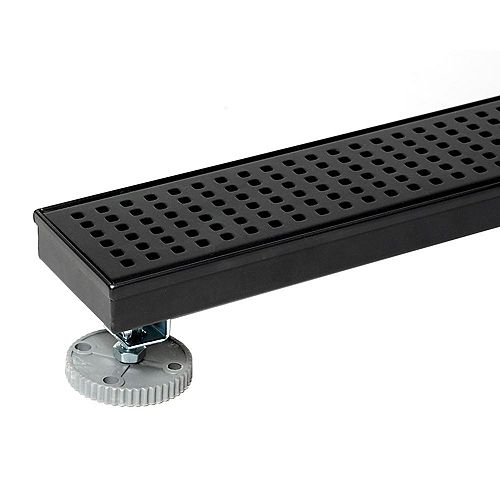 Designline 24 in. Stainless Steel Linear Shower Drain with Square Pattern Drain Cover in Matte Black