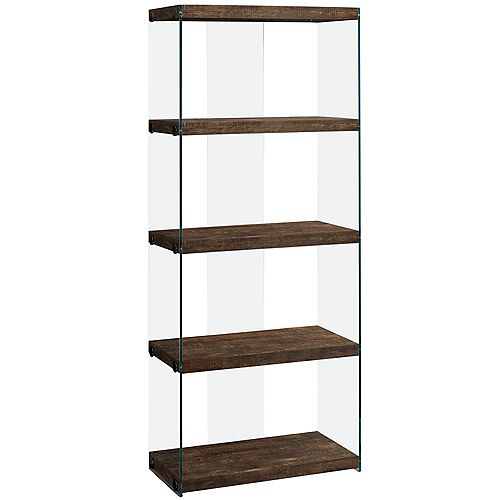 Monarch Specialties Bookcase - 60 Inch H / Brown Reclaimed Wood-Look /Glass Panels