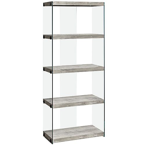 Monarch Specialties Bookcase - 60 Inch H / Grey Reclaimed Wood-Look /Glass Panels