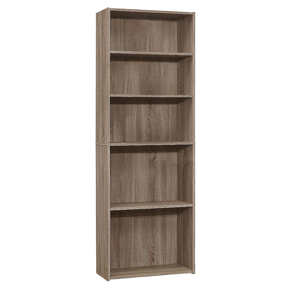 Monarch Specialties Bookcase - 72 Inch H / Dark Taupe With 5 Shelves