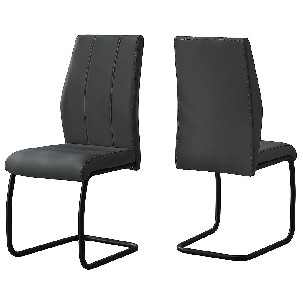 Monarch Specialties Dining Chair - 2Pcs / 39 Inch H / Grey Leather-Look / Metal