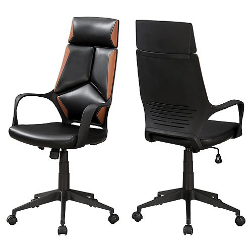 Monarch Specialties Office Chair - Black / Brown Leather-Look / Executive