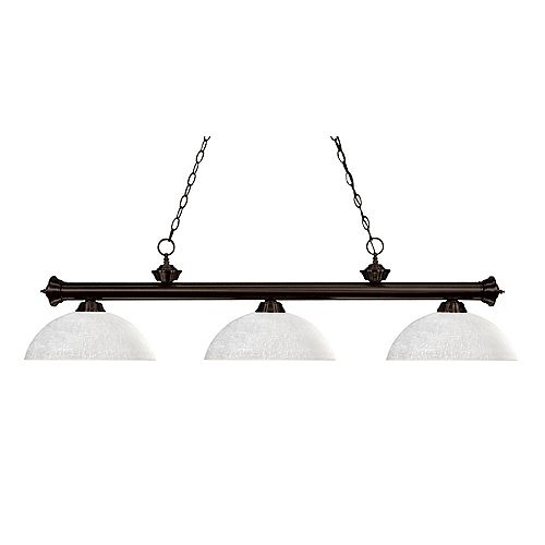 3-Light Bronze Billiard with White Linen Glass Shade