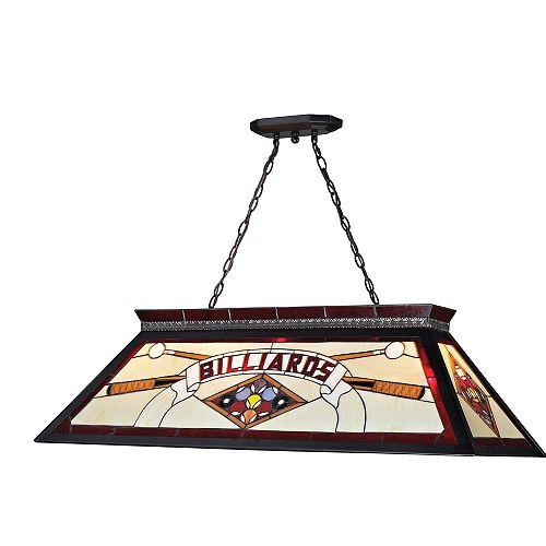 Billard Lumière à quatre ampoules dimmable avec abat-jour en verre tiffany, fini noir mat - 18.5 inch