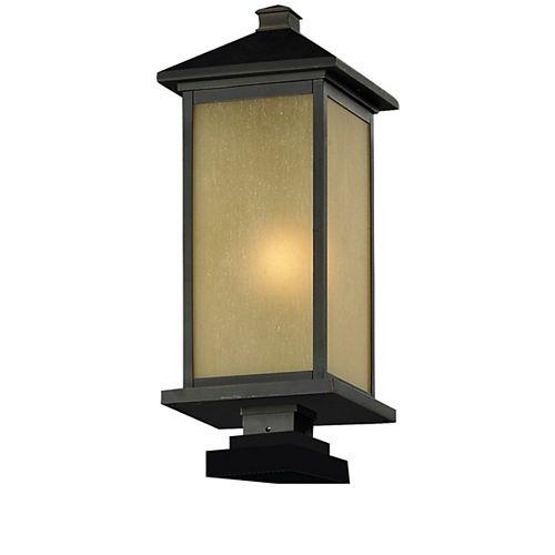 Pilier monture lumière à une ampoule avec abat-jour de spécialité, fini bronze huilé - 24.5 inch