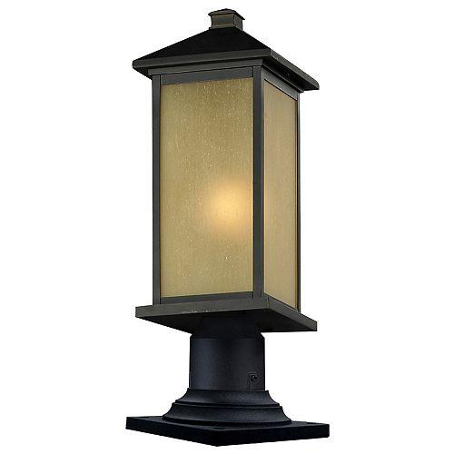 Pilier monture lumière à une ampoule avec abat-jour de spécialité, fini bronze huilé - 23.25 inch