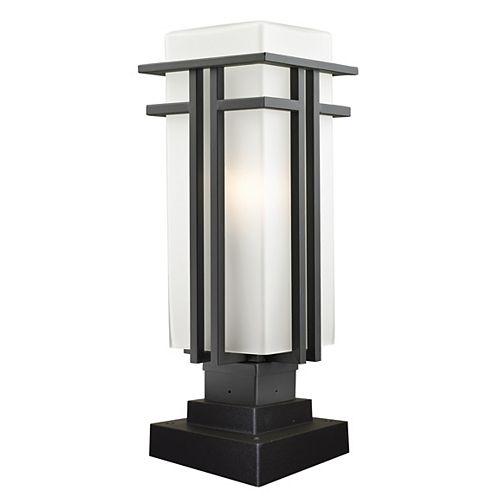Pilier monture lumière à une ampoule avec abat-jour de spécialité, fini bronze frotté - 20.25 inch