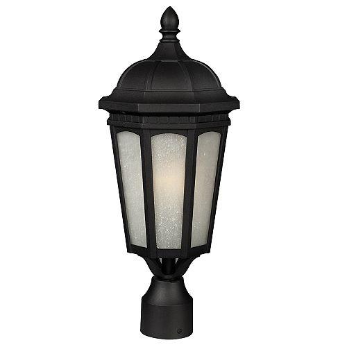 Pilier monture lumière à une ampoule avec abat-jour blanc, Fini noir - 19.62 inch