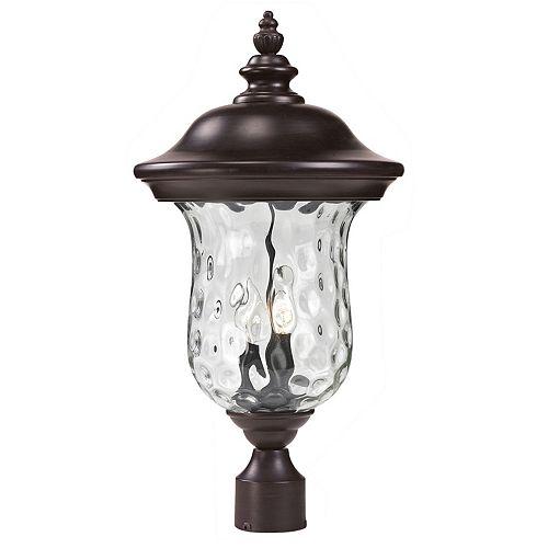 Pilier monture lumière à deux ampoules dimmable avec abat-jour clair, Fini bronze - 21 inch