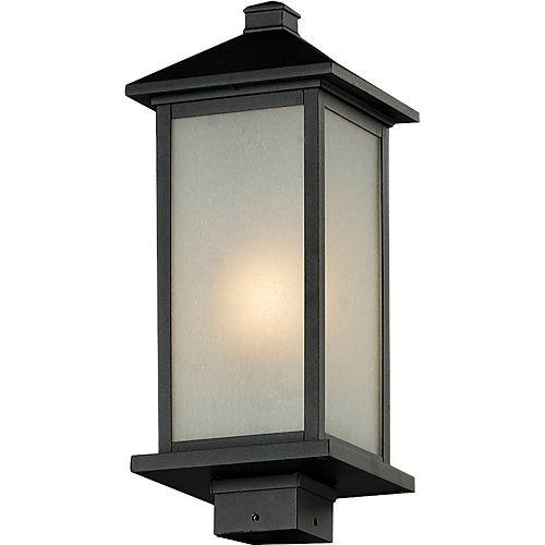 Pilier monture lumière à une ampoule avec abat-jour blanc, Fini noir - 20 inch