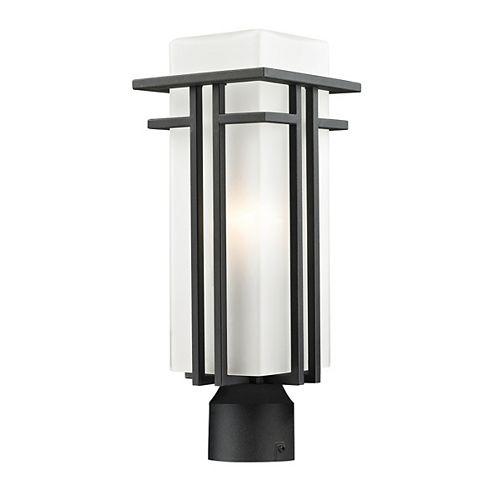 Pilier monture lumière à une ampoule avec abat-jour de spécialité, Fini noir - 17.25 inch