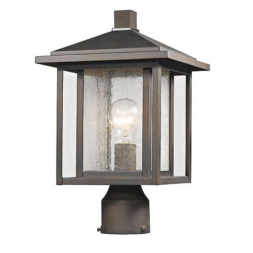 Pilier monture lumière à une ampoule avec abat-jour clair, fini bronze huilé - 14.75 inch
