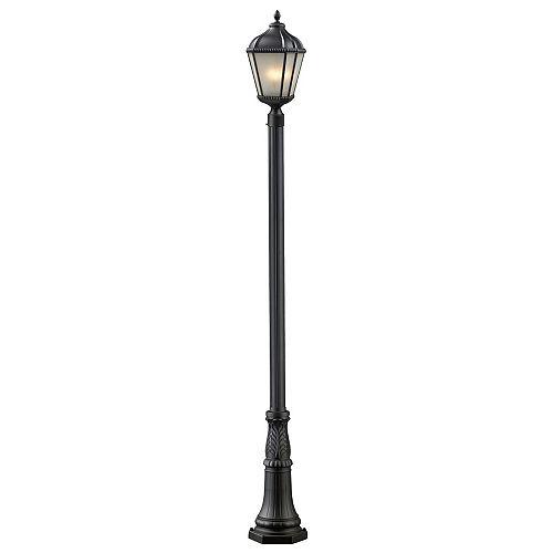 Pilier monture lumière à trois ampoules avec abat-jour blanc, Fini noir - 13 inches