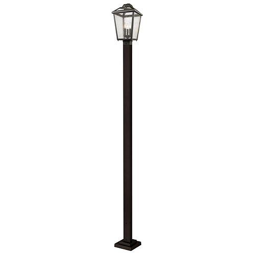 Pilier monture lumière à trois ampoules dimmable avec abat-jour clair, fini bronze huilé - 114 inch