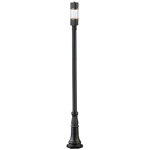 Pilier monture lumière à une ampoule avec abat-jour clair, Fini noir