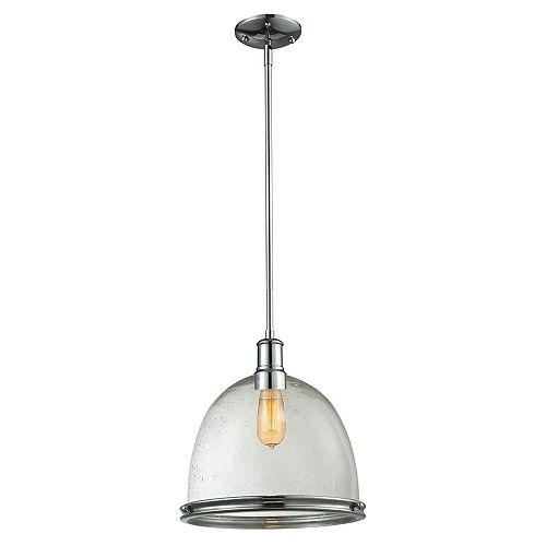 Filament Design 1-Light Chrome Pendant with Clear Seedy Glass - 13 inch