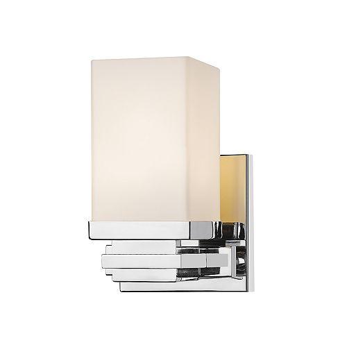 Lumière fixée au mur à une ampoule avec abat-jour de spécialité, finition chromée - 4.9 inches