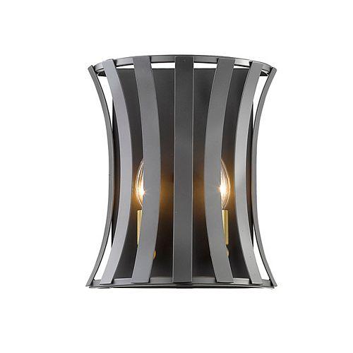 Lumière fixée au mur à deux ampoules dimmable avec abat-jour en acier bronze doré, finition bronze doré