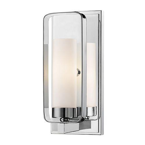 Lumière fixée au mur à une ampoule avec abat-jour de spécialité, finition chromée - 10.25 inch