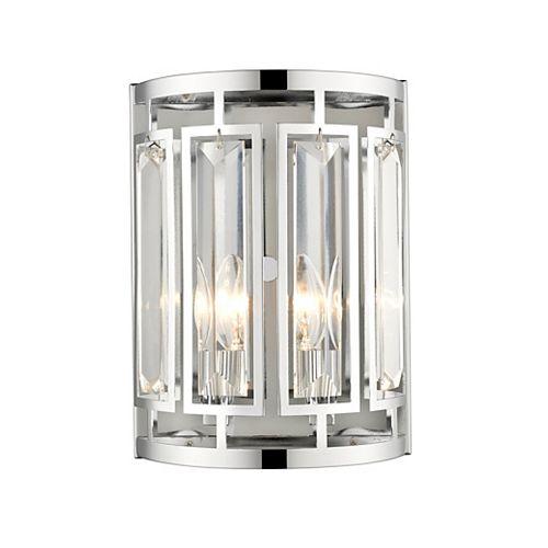 Lumière fixée au mur à deux ampoules avec des cristaux clairs, finition chromée - 9 inches