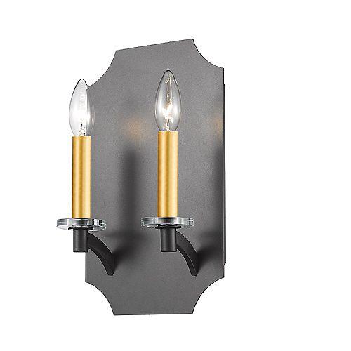 Lumière fixée au mur à deux ampoules avec Fini bronze - 7.9 inches