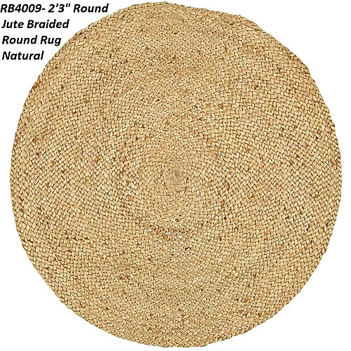Hand Braided Jute Natural 3 ft. 3-inches x 3 ft. 3-inches Indoor Round Area Rug