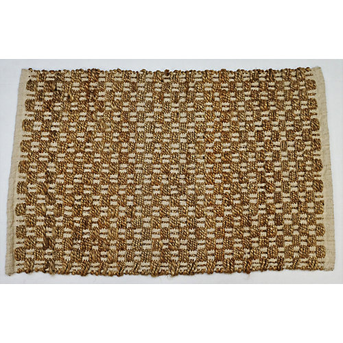 Hand Braided Jute Natural Colour 1 ft. 7.7-inch x 2 ft. 7.5-inch Indoor Mat