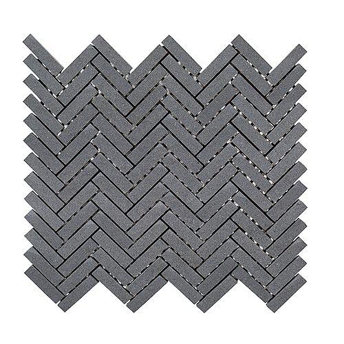 Basalt Herringbone Gray 11-inch x 10-inch x 8 mm Honed Basalt Mosaic Floor and Wall Tile