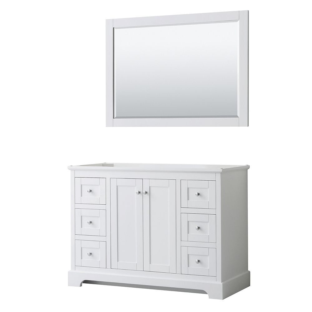 Wyndham Collection Avery 48 Inch Single Bathroom Vanity in White, No Countertop, No Sink, and 46 Inch Mirror