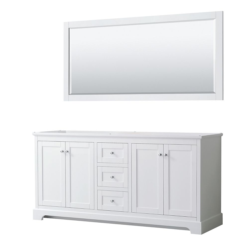 Wyndham Collection Avery 72 Inch Double Bathroom Vanity in White, No Countertop, No Sinks, and 70 Inch Mirror
