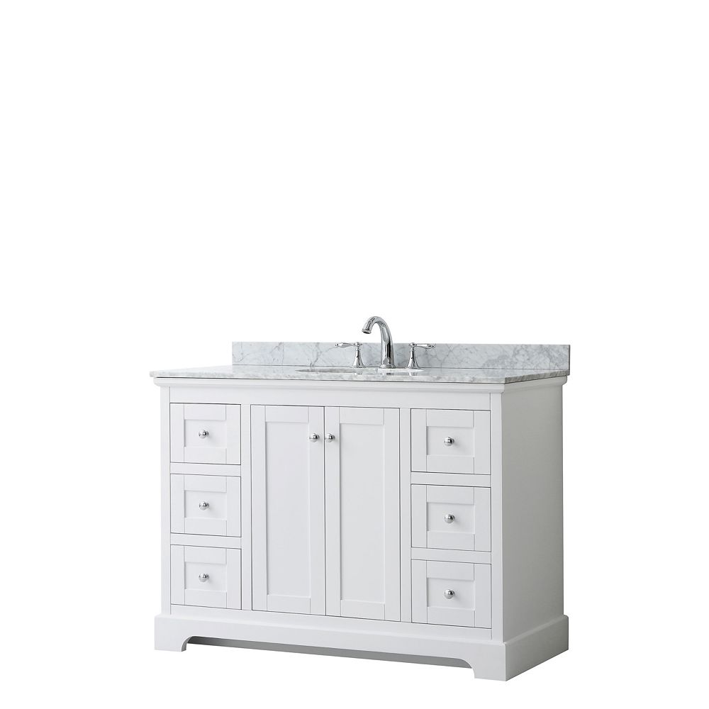 Wyndham Collection Avery 48 Inch Single Vanity in White, White Carrara Marble Top, Oval Sink, No Mirror