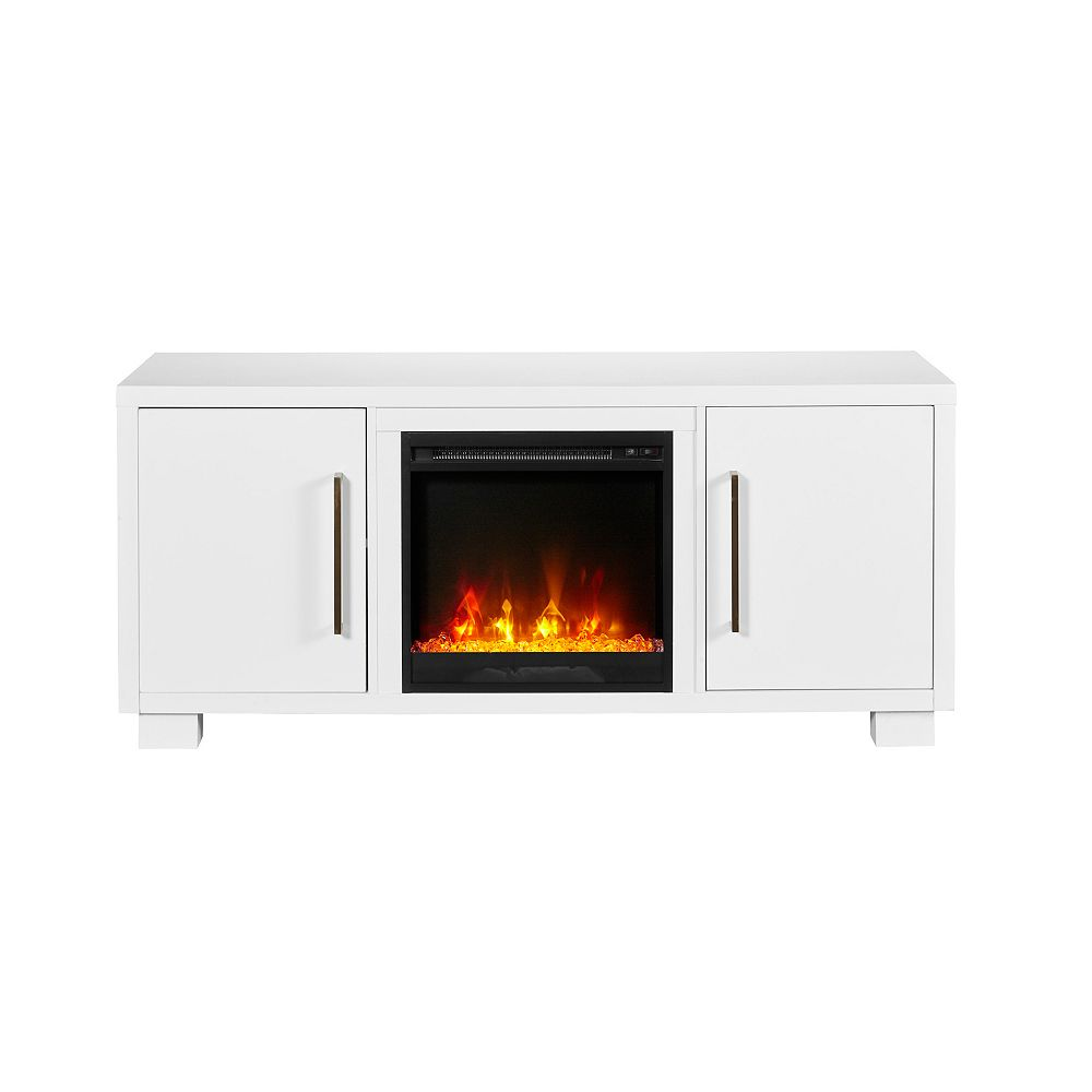 Dimplex Shelby TV Stand Electric Fireplace by C3, White