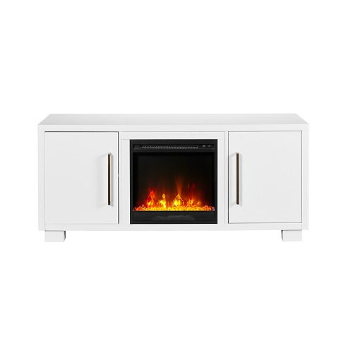 Shelby TV Stand Electric Fireplace by C3, White