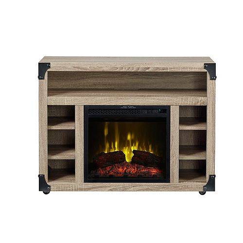Chelsea TV Stand Electric Firepalce by C3, Distressed Oak