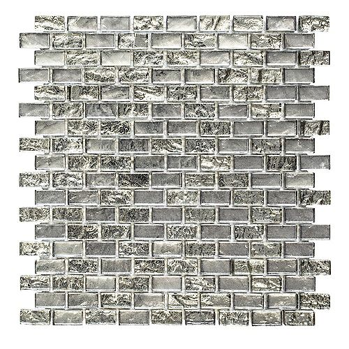 Jeffrey Court Treasure Bell Gray Interlocking 12-inch x 12-inch x 8 mm Glass Mosaic Tile