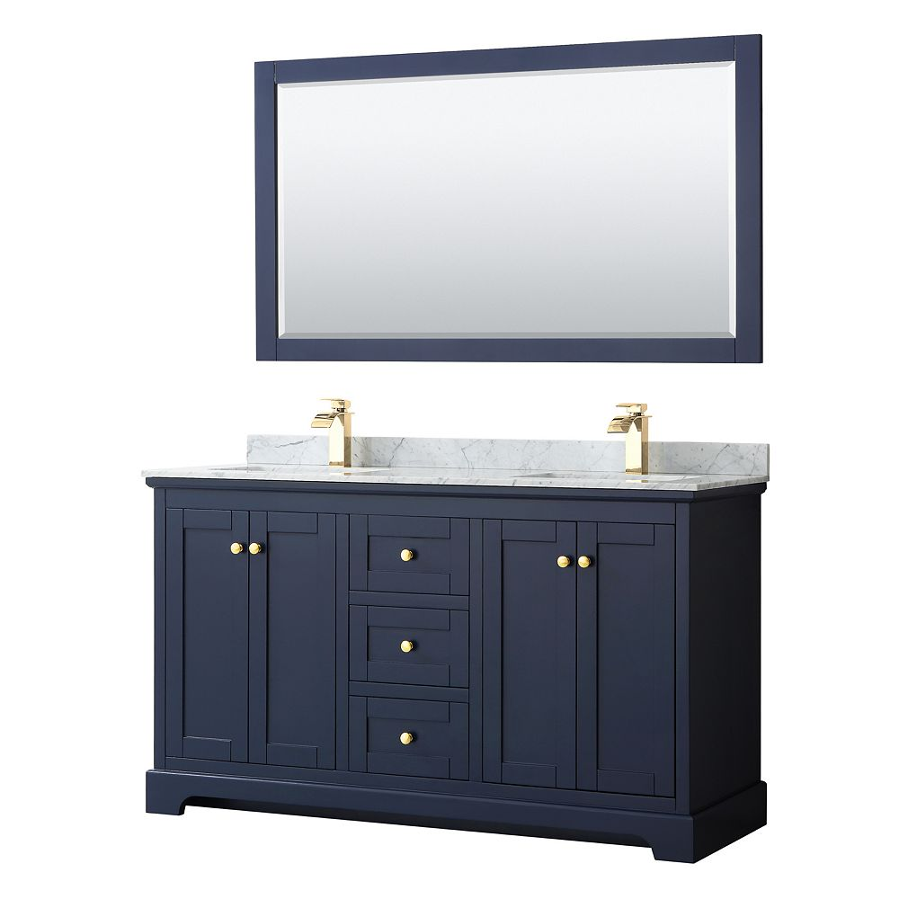 Wyndham Collection Avery 60 Inch Double Vanity in Dark Blue, White Carrara Marble Top, Square Sinks, 58 Inch Mirror