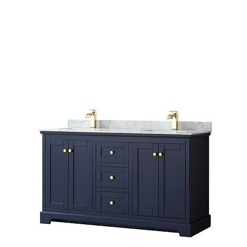 Avery 60 Inch Double Vanity in Dark Blue, White Carrara Marble Top, Square Sinks, No Mirror