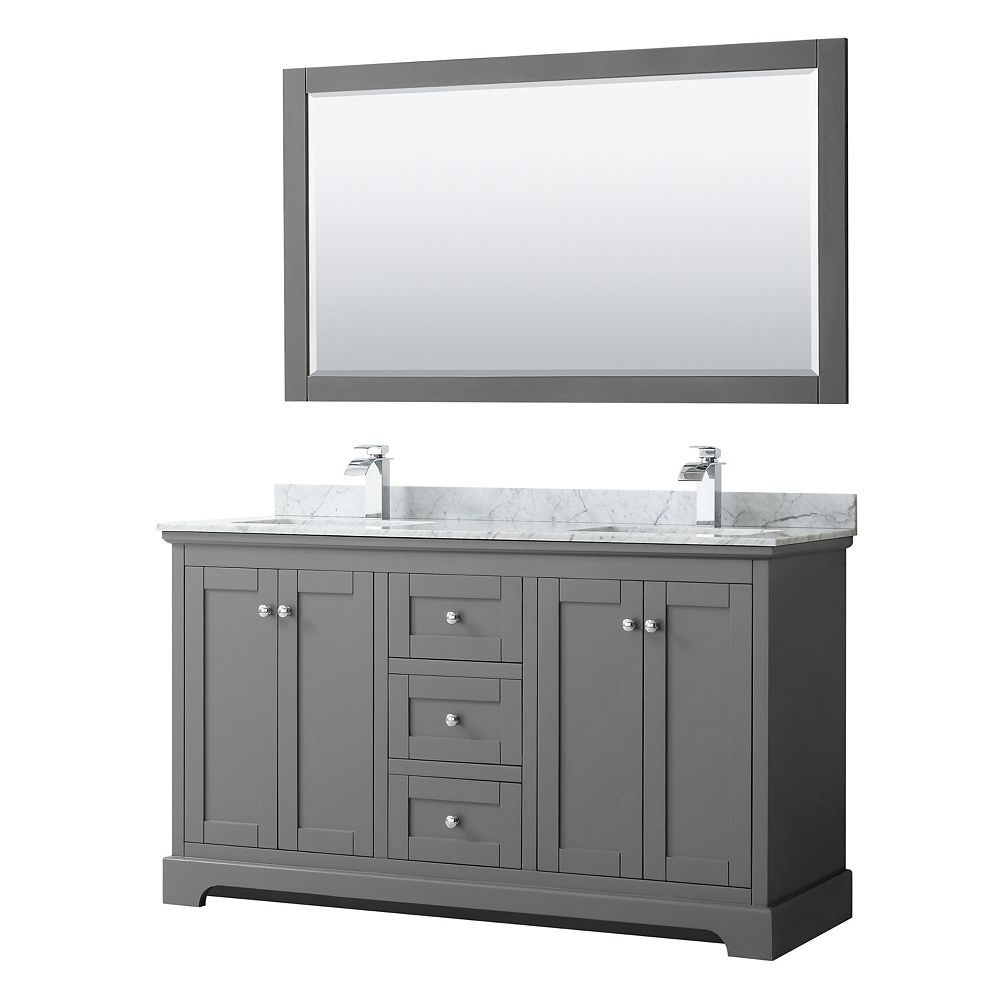 Wyndham Collection Avery 60 Inch Double Vanity in Dark Gray, White Carrara Marble Top, Square Sinks, 58 Inch Mirror