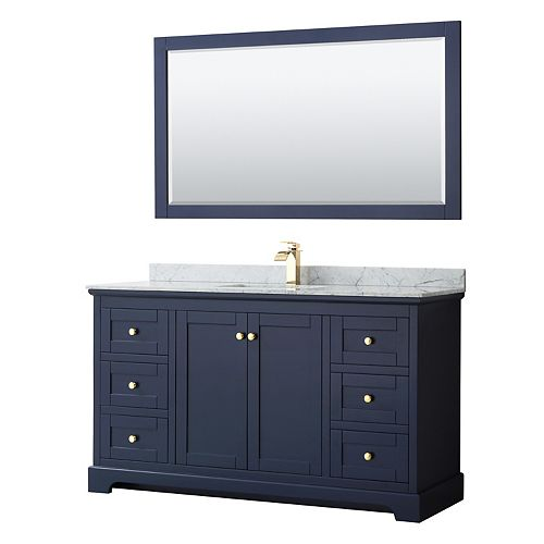 Avery 60 Inch Single Vanity in Dark Blue, White Carrara Marble Top, Square Sink, 58 Inch Mirror