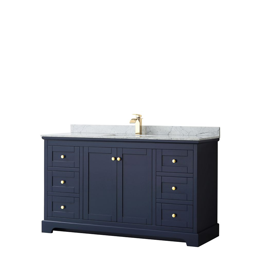 Wyndham Collection Avery 60 Inch Single Vanity in Dark Blue, White Carrara Marble Top, Square Sink, No Mirror