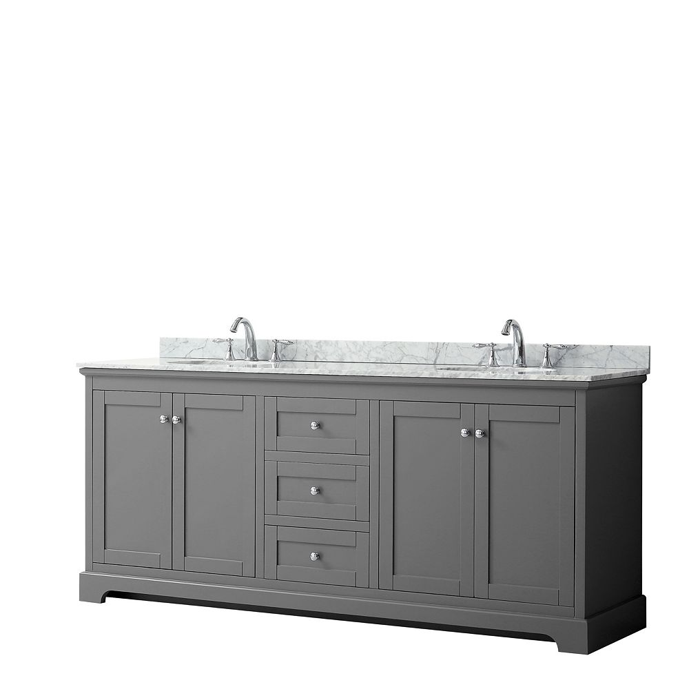 Wyndham Collection Meuble double Avery 80 po en gris foncé, comptoir blanc en marbre Carrare, éviers ovales,sans miroir
