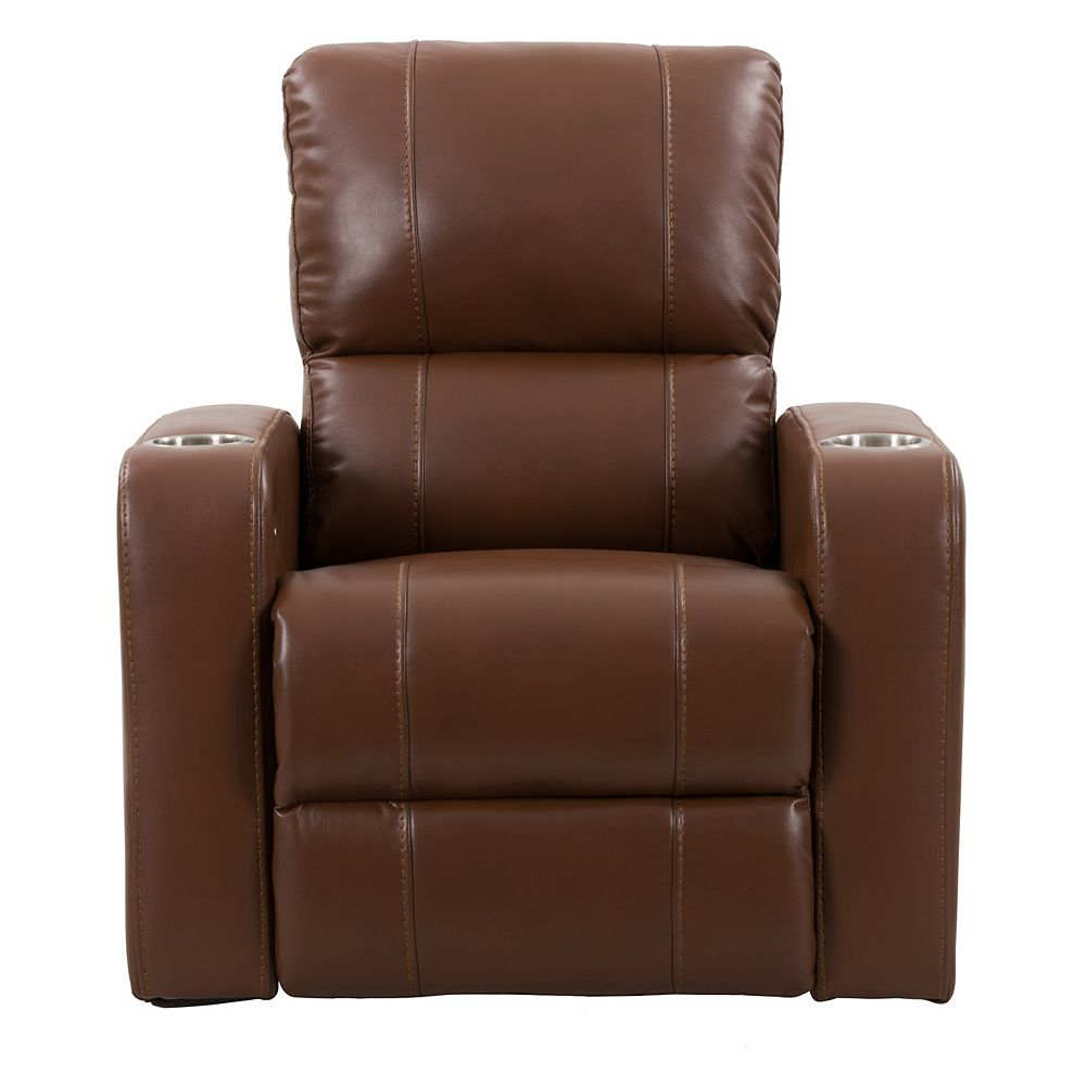 Corliving Home Theater Single Power Recliner with Stainless Steel Cup Holders, Brown Leather Gel