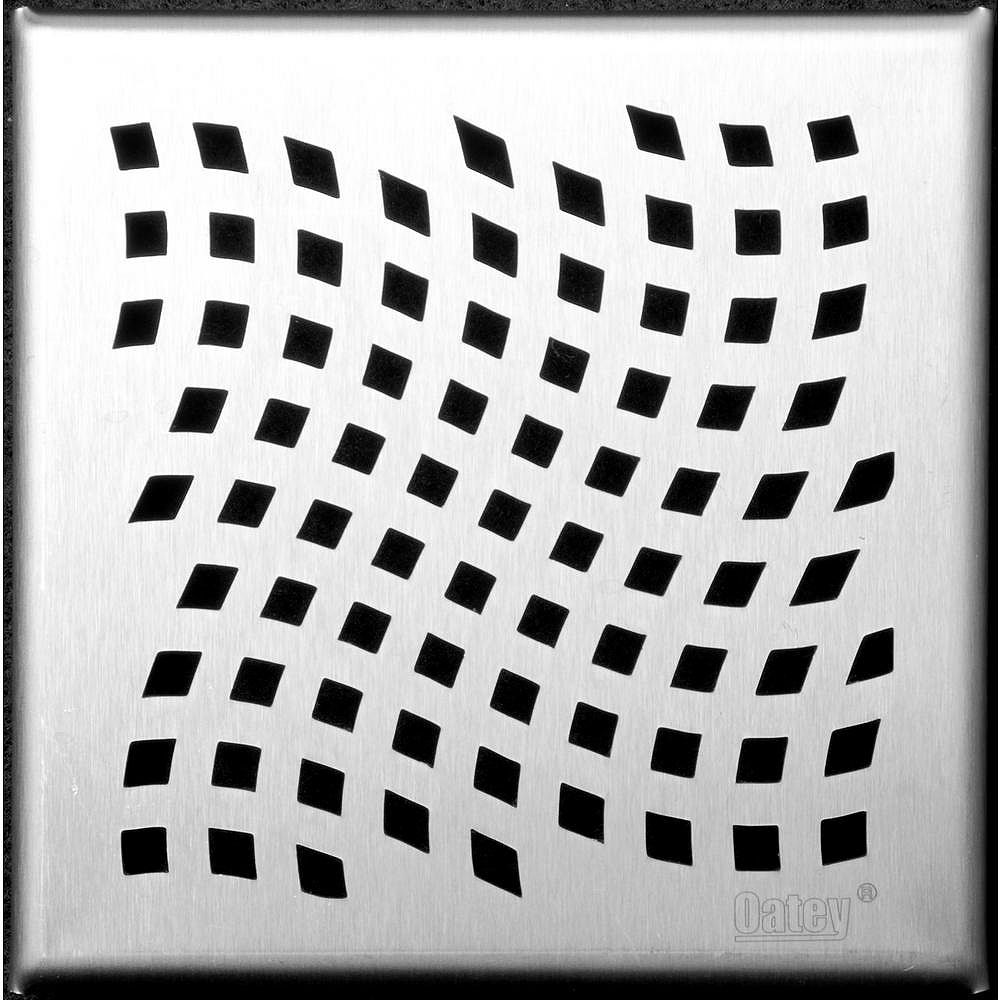 Oatey Designline 6 in. x 6 in. Stainless Steel Square Shower Drain with Wave Pattern Drain Cover