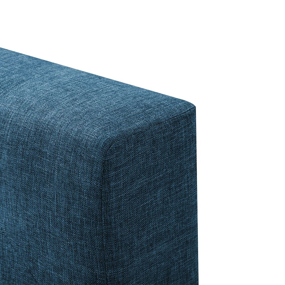 Corliving Queen Diamond Button-Tufted Bed and Frame, Ocean Blue Fabric