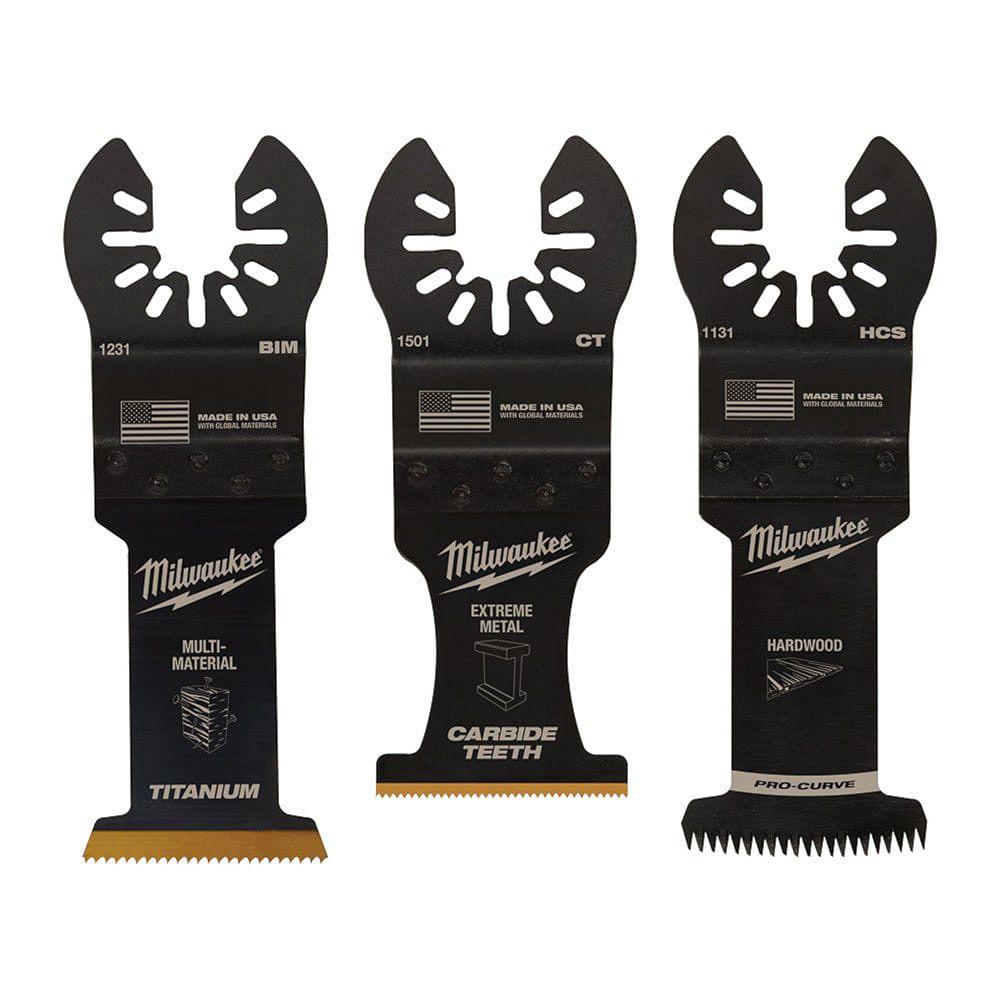 Milwaukee Tool Paquet de variétés Lame oscillante bimétallique à plusieurs outils recouverte de titane (paquet de 3)