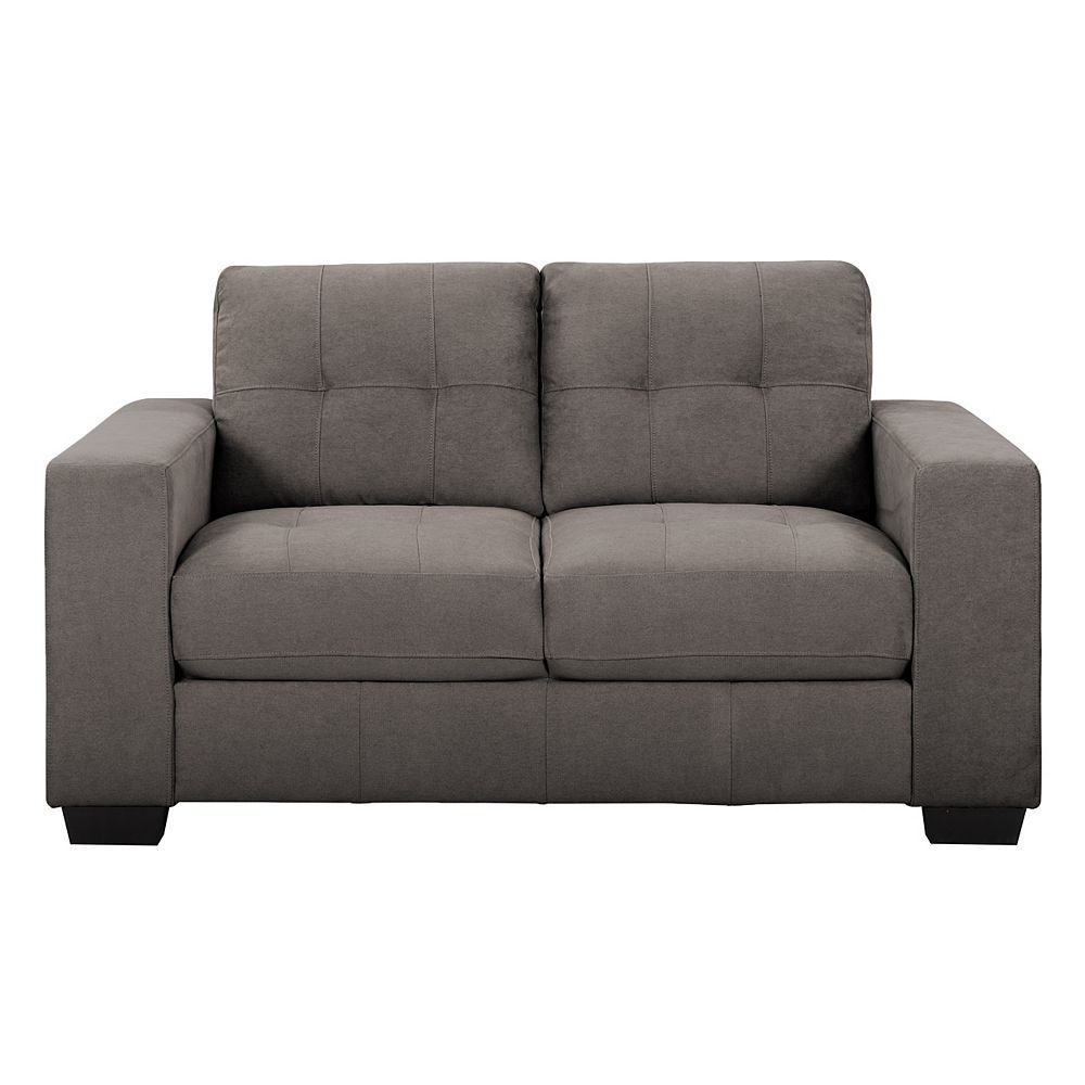 Corliving Tufted Seat and Backrest Grey Chenille Fabric Loveseat