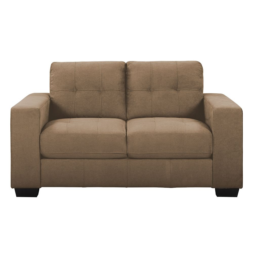 Corliving Tufted Seat and Backrest Brown Chenille Fabric Loveseat